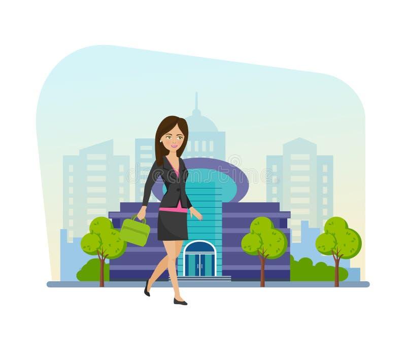 La jeune, belle fille marche des rues de ville après le centre commercial illustration stock