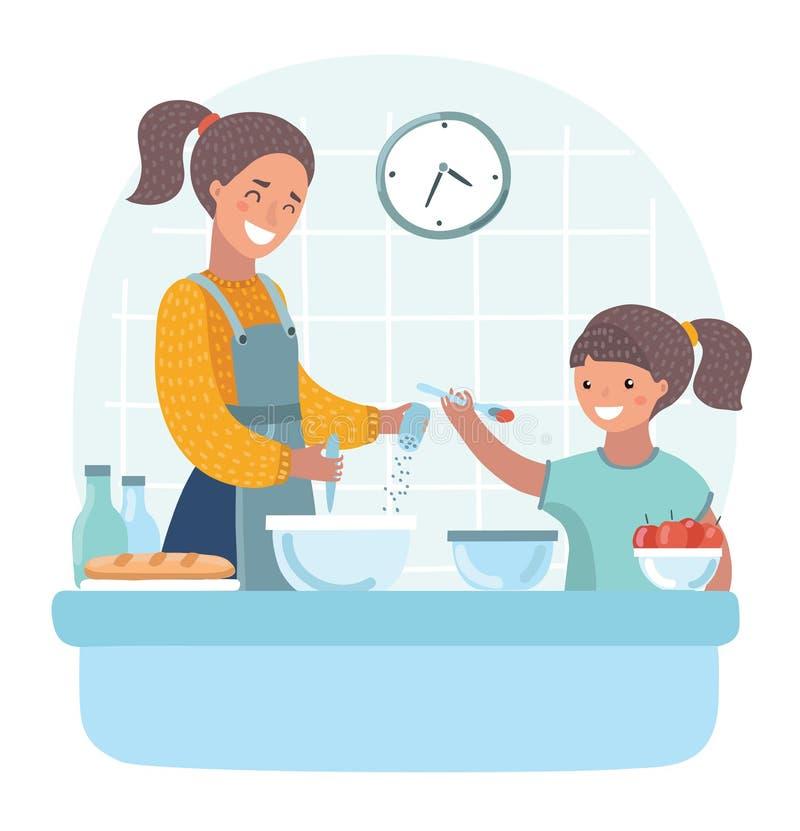 La jeune belle mère enseigne la fille préparent la pâte dans la cuisine illustration de vecteur