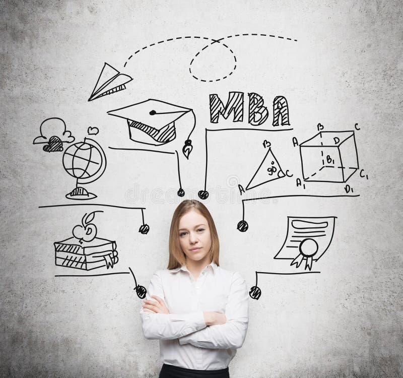 La jeune dame avec les mains croisées va obtenir la maîtrise dans la gestion Un concept du degre de MBA photographie stock