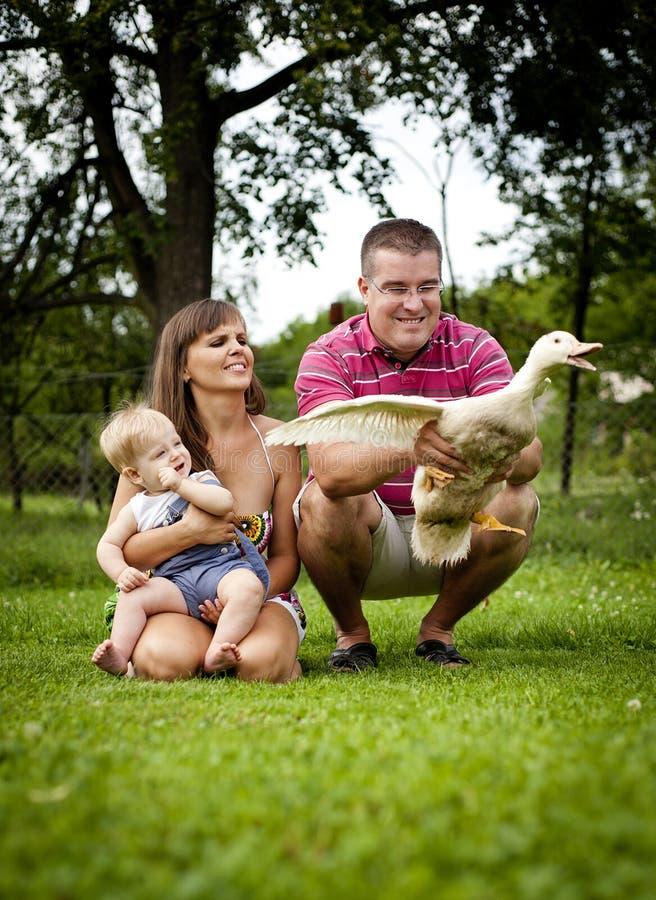 Famille à la ferme images stock