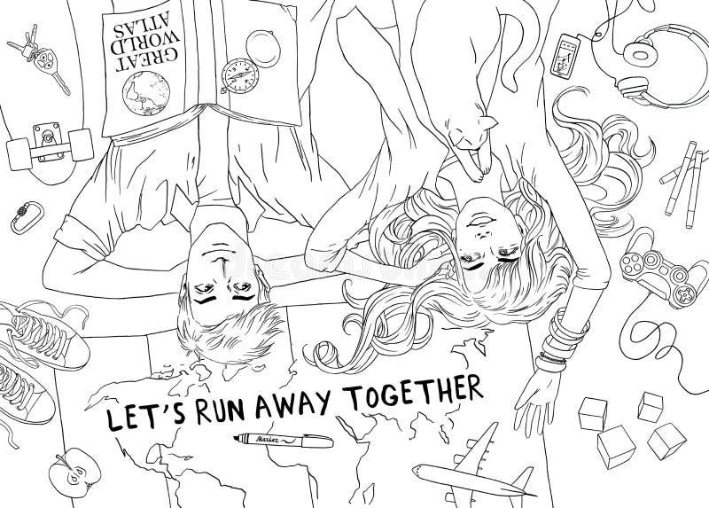 La jeune famille de couples prévoit le voyage heureux de souhaits de rêves Croquis tiré par la main pour la page antistress adult illustration de vecteur