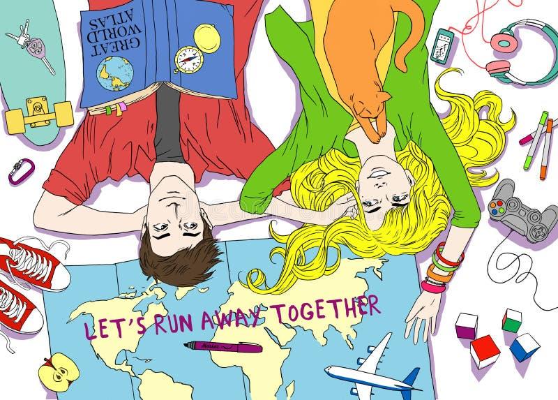 La jeune famille de couples prévoit le voyage heureux de souhaits de rêves Croquis tiré par la main pour la page antistress adult illustration libre de droits