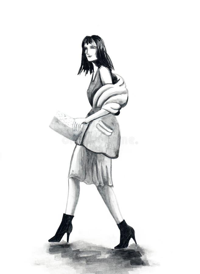 La jeune femme à la mode avec les cheveux foncés de la longueur de l'épaule entre dans une robe et un manteau Elle va se tourner  illustration libre de droits