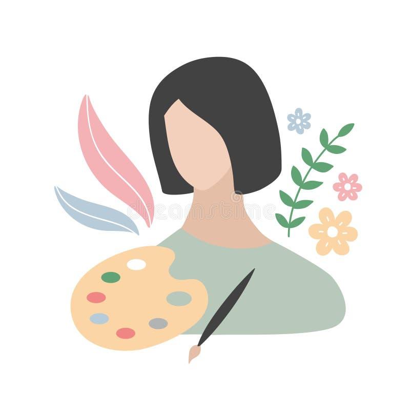 La jeune femme attirante avec ses professions objecte - peinture et brosse colorées illustration libre de droits