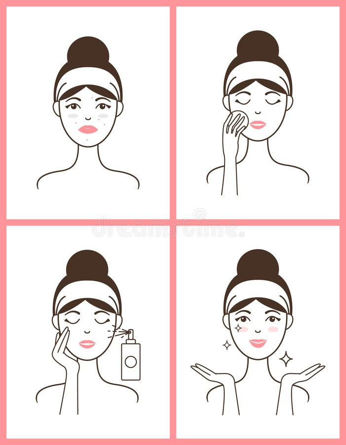 La jeune femme avec l'acné applique l'ensemble frais de tonique illustration stock