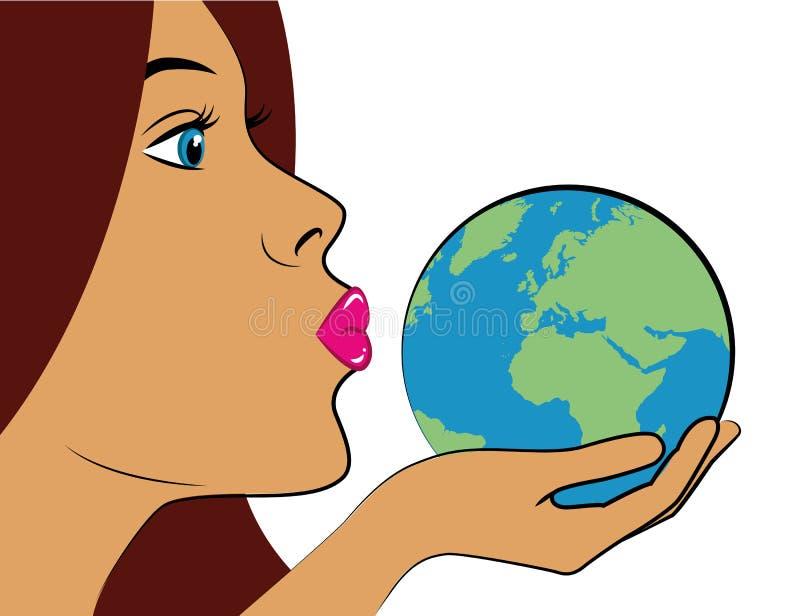 La jeune femme avec les lèvres roses embrasse l'art de bruit bleu de la terre illustration stock