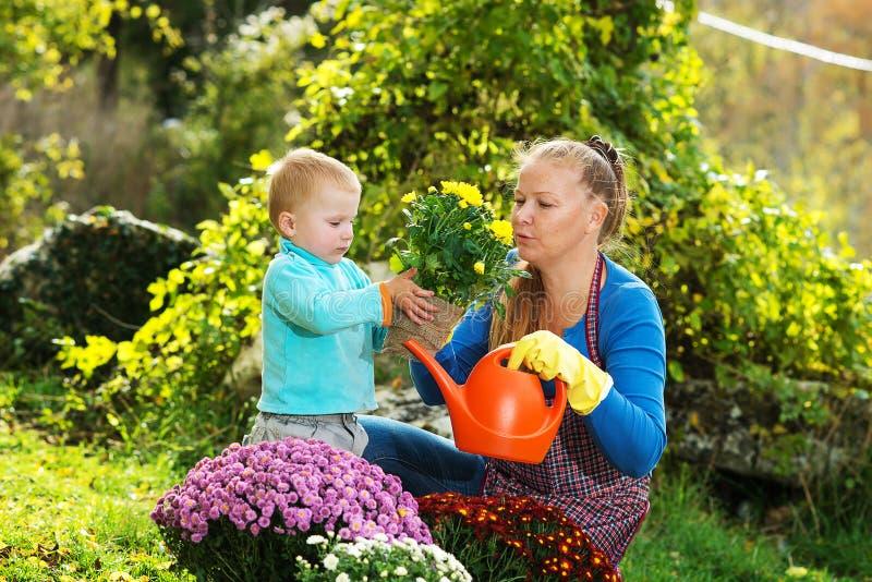 La jeune femme avec un enfant plantent des fleurs image libre de droits
