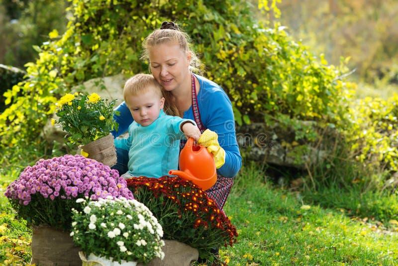 La jeune femme avec un enfant plantent des fleurs photos libres de droits