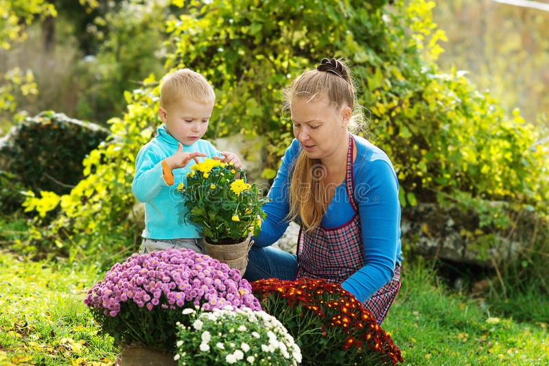 La jeune femme avec un enfant plantent des fleurs photographie stock libre de droits