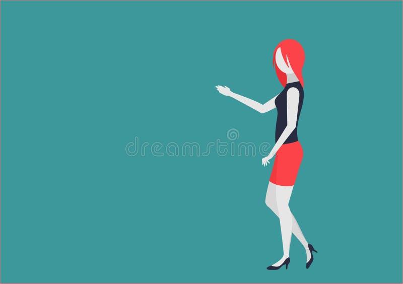La jeune femme d'affaires montre quelque chose caractère avec les parties du corps mobiles illustration libre de droits