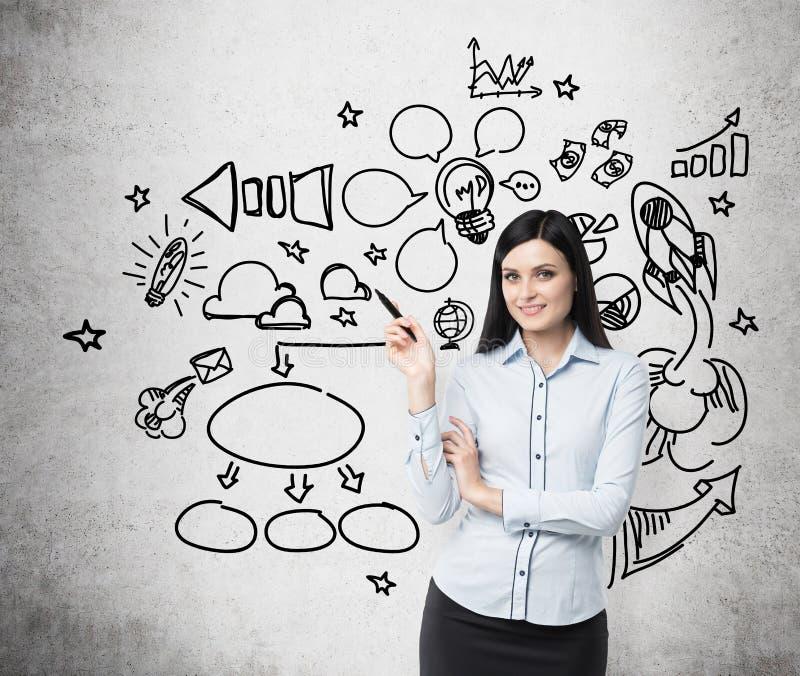La jeune femme d'affaires pense à l'optimisation du processus social de media Des icônes de craie sont dessinées sur le mur en bé images libres de droits
