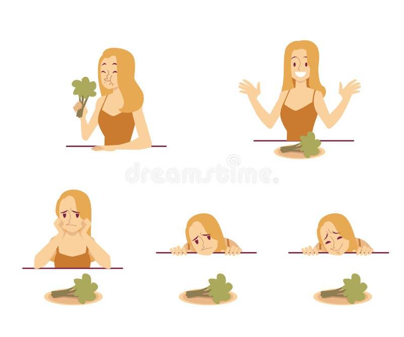 La jeune femme d'ajustement de vecteur essaye de seuls légumes de toeat illustration de vecteur