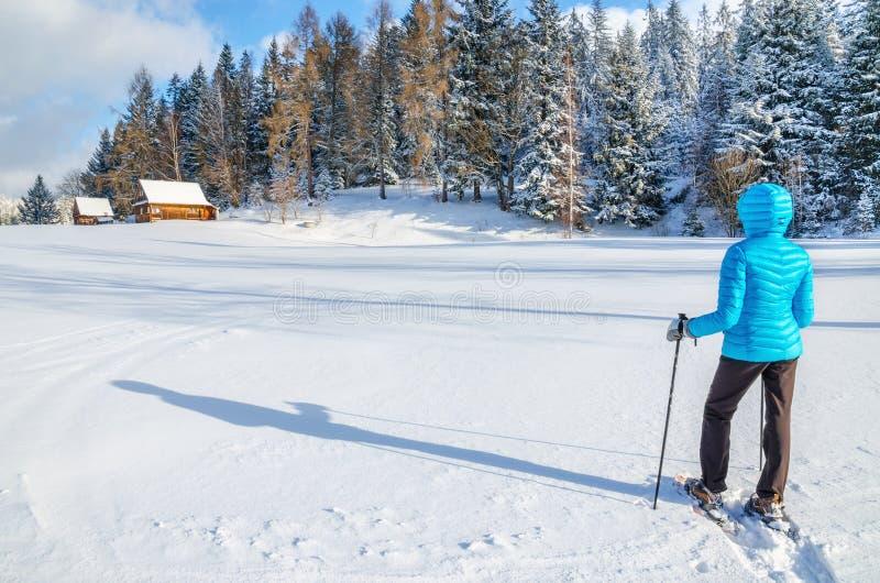 La jeune femme dans la veste bleue marche à la hutte de montagne photographie stock