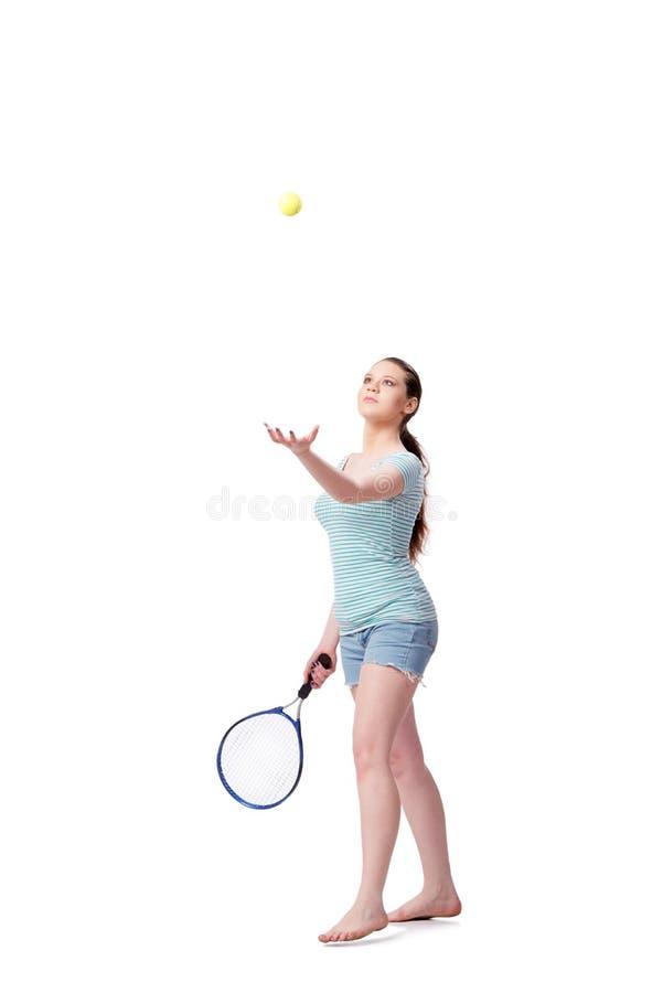 La jeune femme dans le concept de sports d'isolement sur le blanc photographie stock