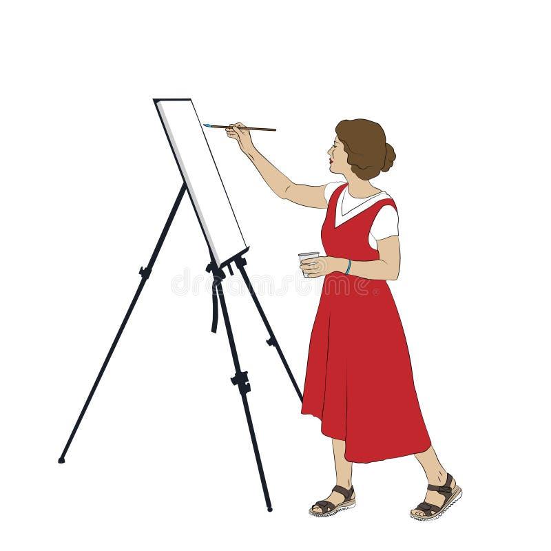La jeune femme dans la pleine croissance peint un tableau sur un chevalet illustration stock