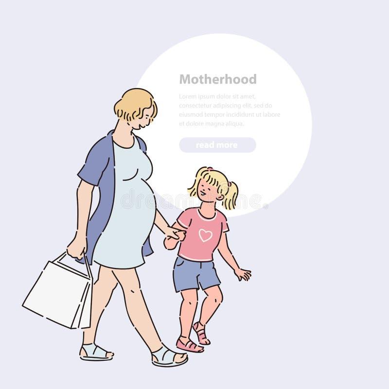 La jeune femme enceinte va faire des emplettes avec la fille Adolescent d'enfant de maman de promenade dans illustration vecteur  illustration de vecteur