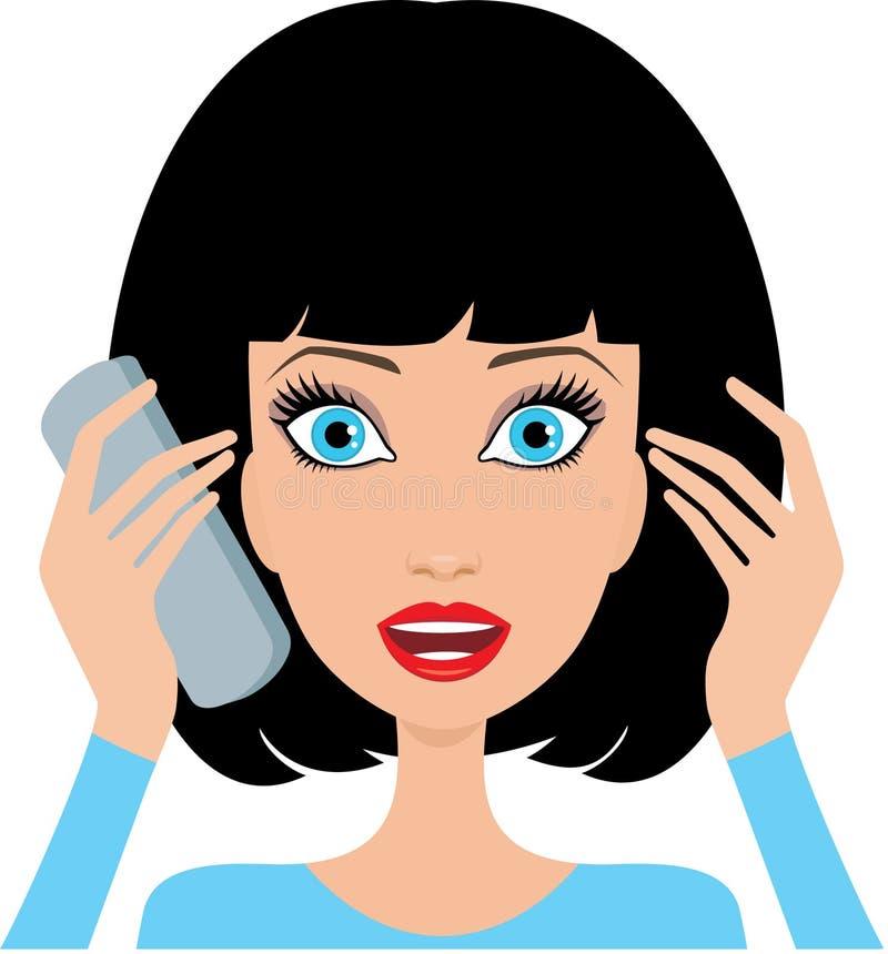 La jeune femme est étonnée par le téléphone illustration stock