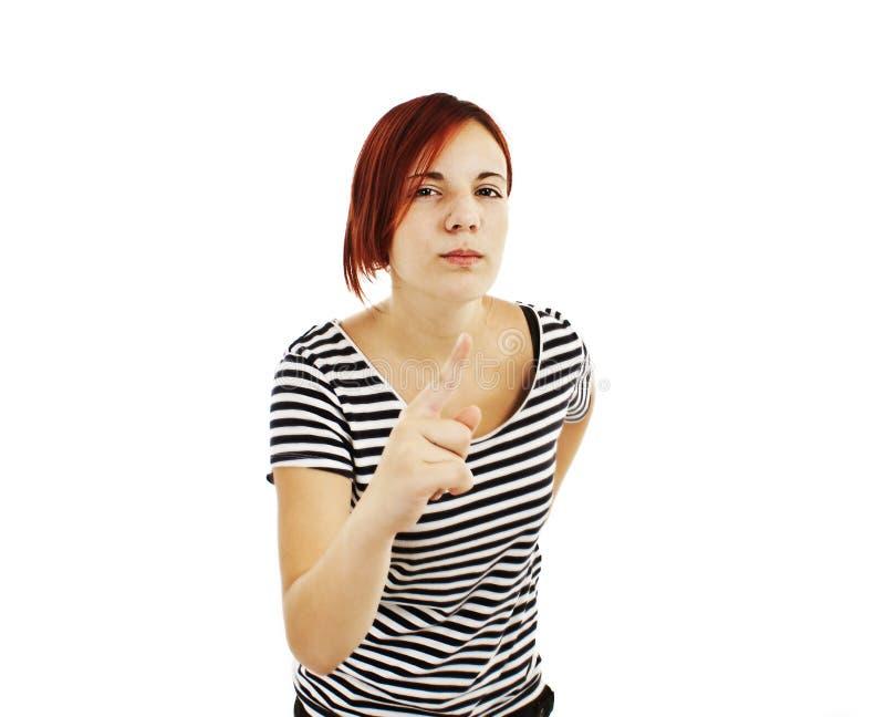 La jeune femme fâchée gronde photo libre de droits