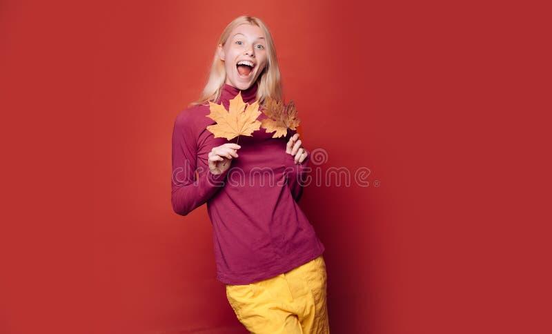 La jeune femme heureuse se préparent au jour ensoleillé d'automne Étonnez la femme jouant avec des feuilles et regardant l'appare photo stock