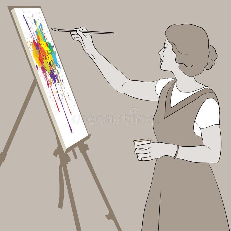 La jeune femme peint un tableau lumineux de couleur sur un chevalet photo stock