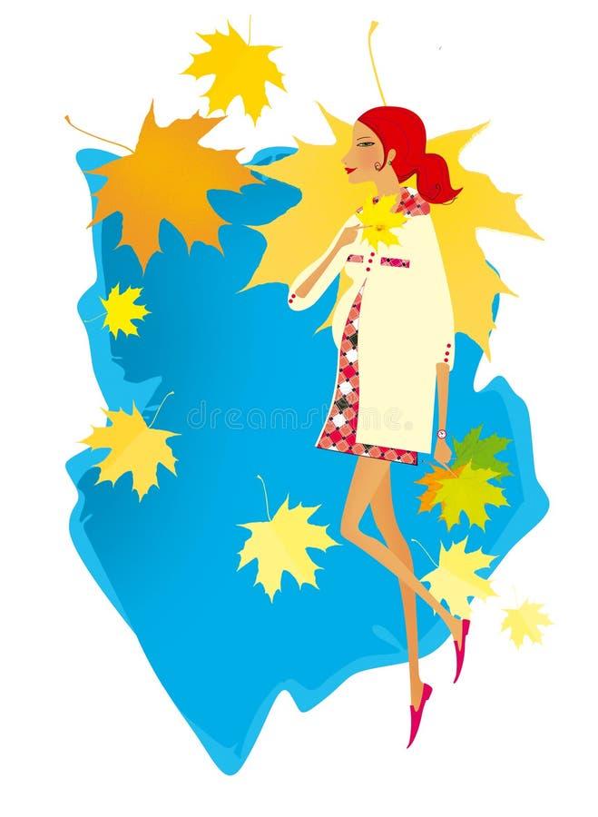 La jeune femme rousse marche sur un fond de ciel bleu et de feuilles en baisse d'érable d'automne Automne Grossesse illustration libre de droits
