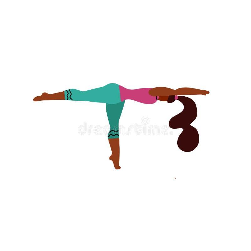 La jeune femme se tiennent sur une jambe dans une pose de yoga et m?ditent Fille de yoga en position de forme physique La fille i illustration stock