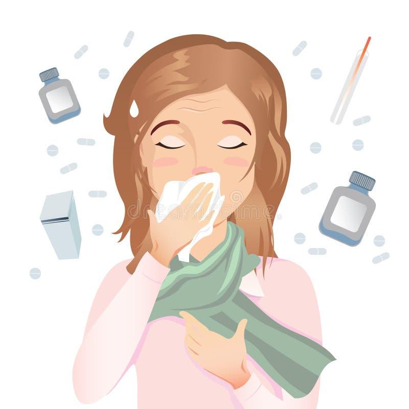 La jeune femme a une allergie, un écoulement nasal et une toux Elle est malade Pilules, capsules, médecines sur un fond blanc illustration de vecteur