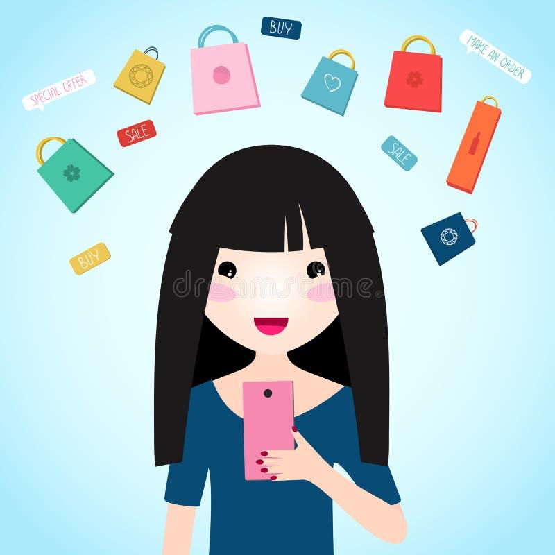 La jeune fille achète des produits au-dessus de l'Internet illustration libre de droits