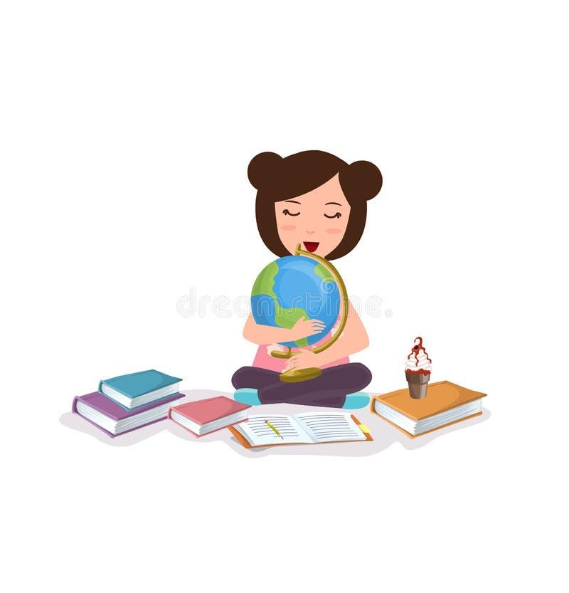 La jeune fille badine étudier le globe d'étude de livre de lecture heureux illustration stock