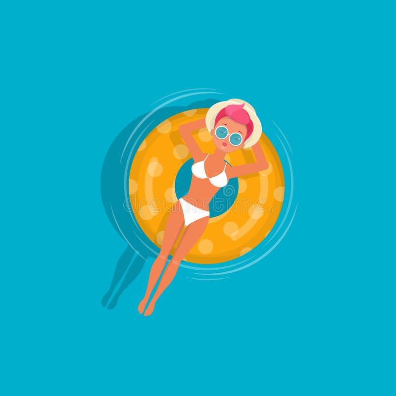 La jeune fille détend sur flotter l'anneau gonflable illustration libre de droits