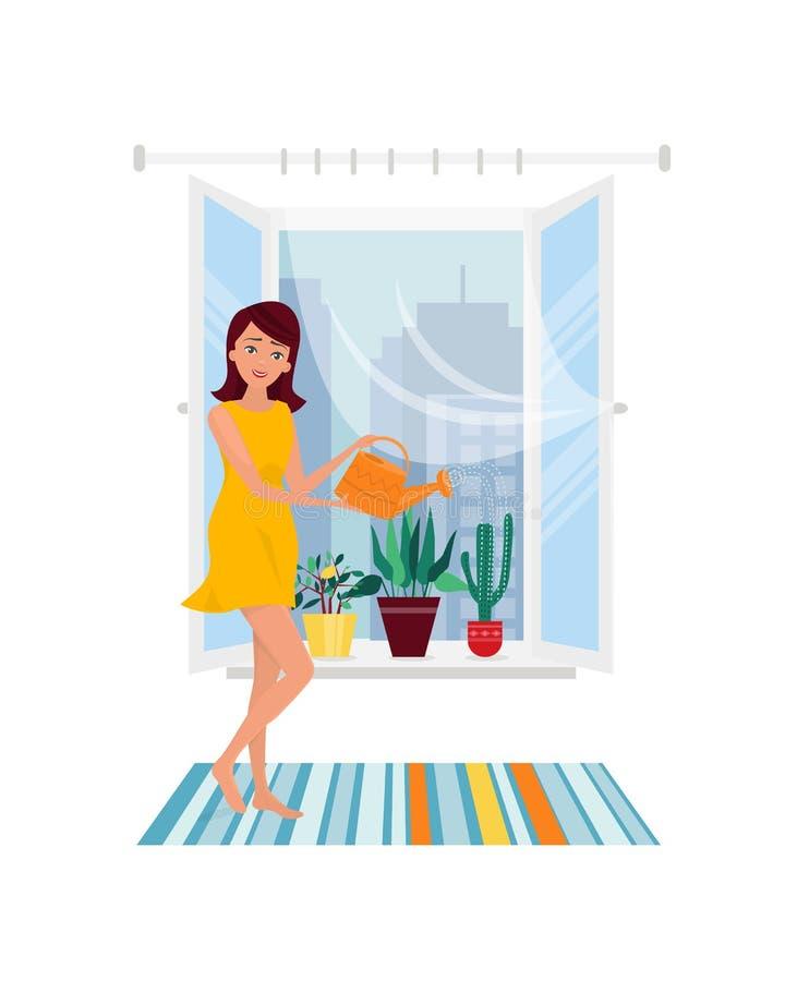 La jeune fille, femme au foyer, faisant des travaux du ménage, usine à la maison de arrosage fleurit illustration de vecteur