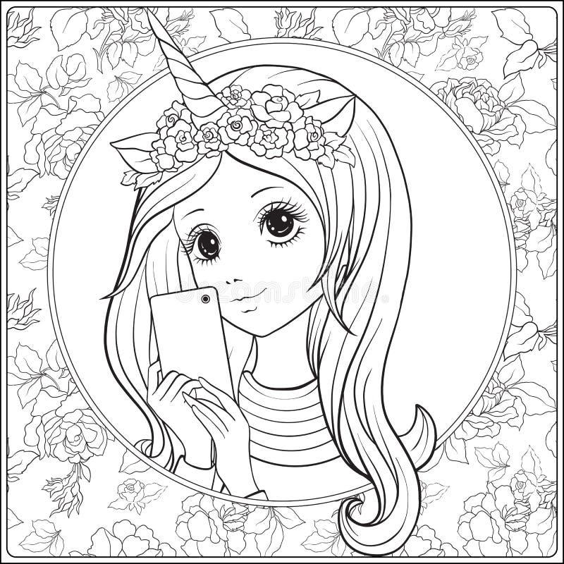 La jeune gentille fille avec longtemps entendent et des klaxons et des roses de licorne sur elle illustration libre de droits