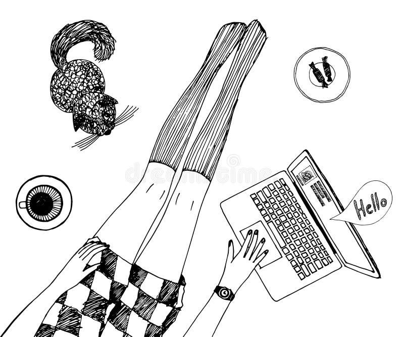 La jeune jolie femme avec le chat cause en ligne Les longues belles jambes dans les bas et le short s'habillent Vecteur tiré par  illustration de vecteur