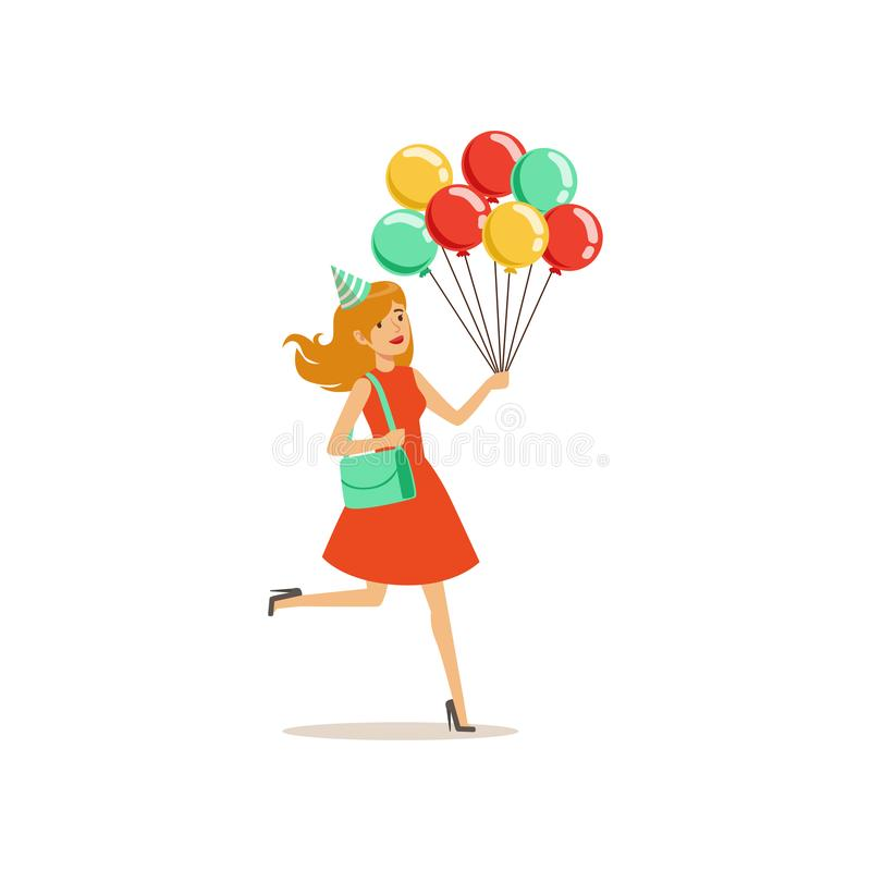 La jeune jolie fille avec les ballons multicolores se dépêchent à la fête d'anniversaire Caractère de femme de bande dessinée dan illustration stock