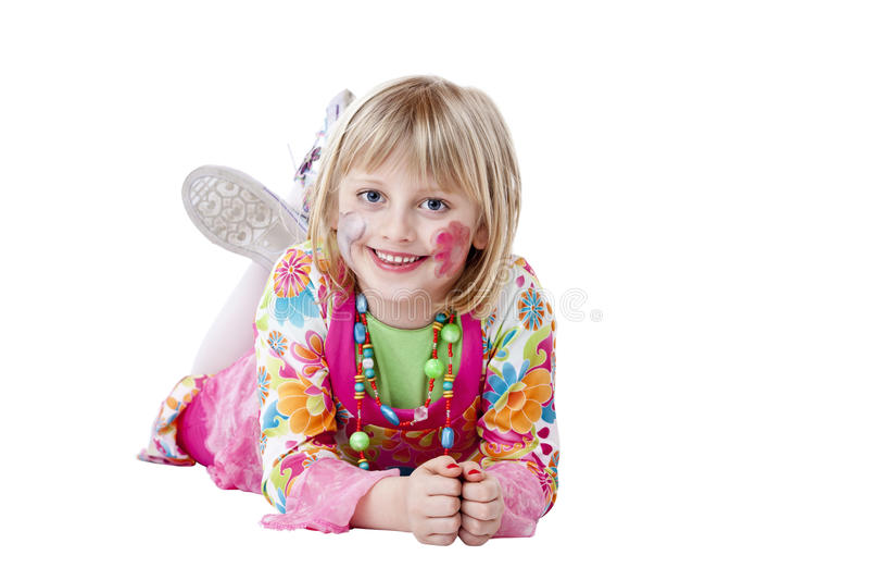 La jeune jolie fille blonde dans le costume de Carneval sourit photos libres de droits