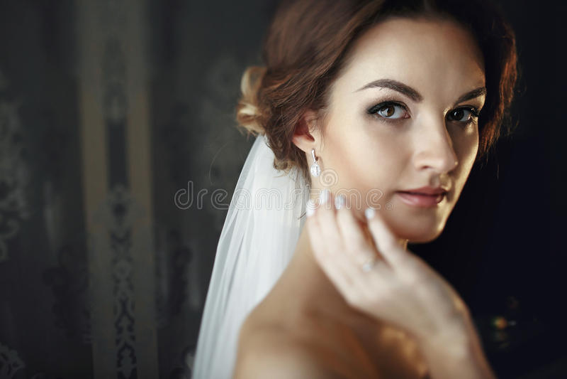 La jeune mariée dans un voile touche son visage avec la main photos stock