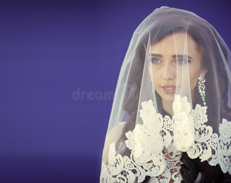 La jeune mariée est sous le voile femme de pose à la mode La femme a de longs cheveux élégants images stock