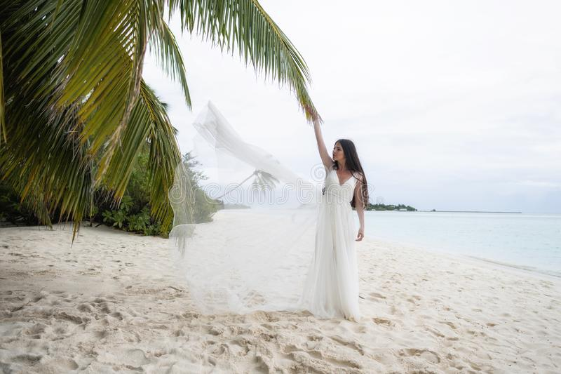 La jeune mariée jette une robe blanche dans le ciel photo libre de droits