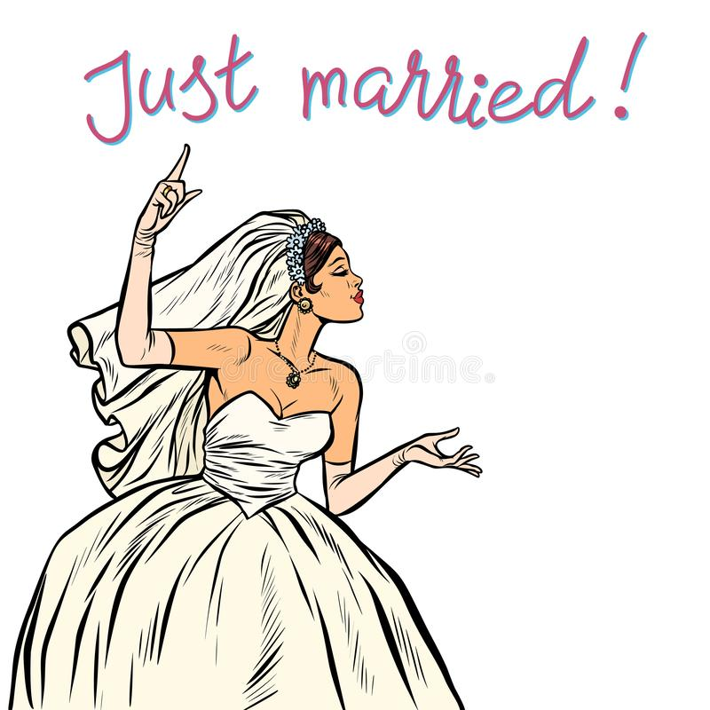 La jeune mariée s'est juste mariée illustration de vecteur