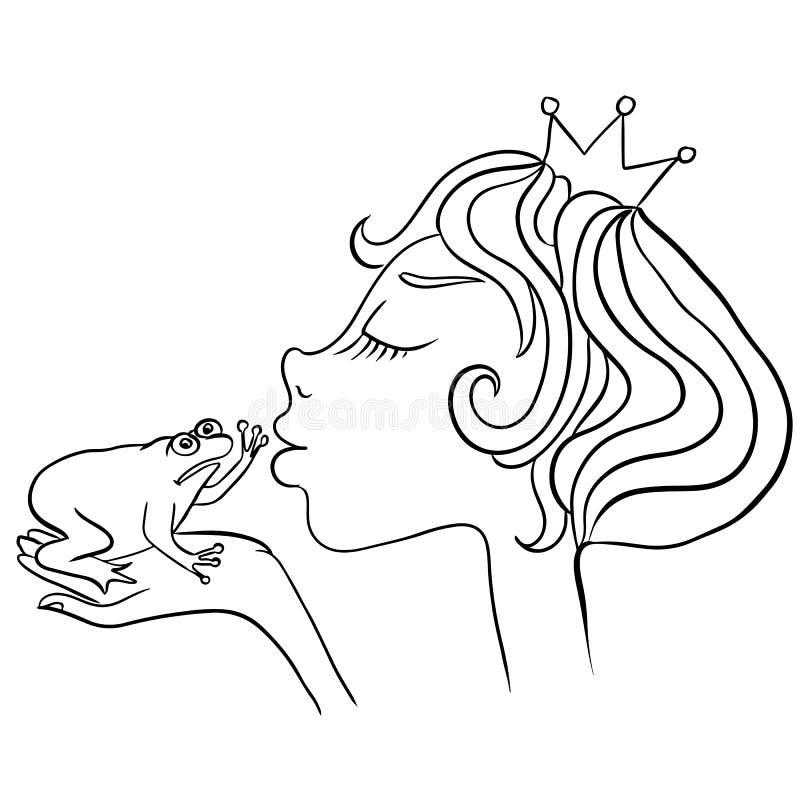 La jeune princesse embrasse la grenouille malheureuse La grenouille ne veut pas embrasser la fille illustration de vecteur