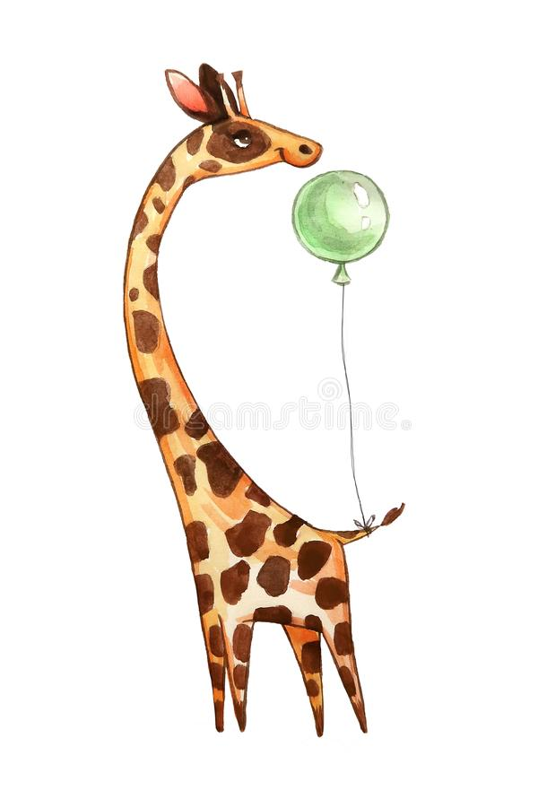 La jirafa linda de la acuarela, ejemplo aislado bueno para la ropa del bebé imprime, tarjeta de felicitación de los niños ilustración del vector