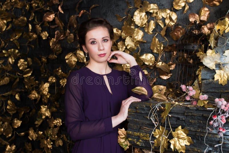 La jolie brune dans la robe se tient dans le studio avec la cheminée photo stock