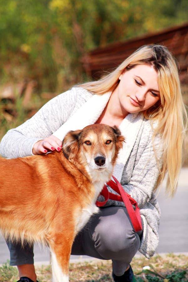 La jolie fille avec son chien de chien de berger de Shetland au parc naturel extérieur est se tenante et posante devant la caméra photos libres de droits
