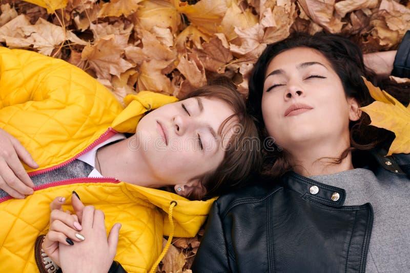 La jolie fille de femme et d'années de l'adolescence posent en parc d'automne Ils se trouvent sur les feuilles tombées Beau paysa image stock