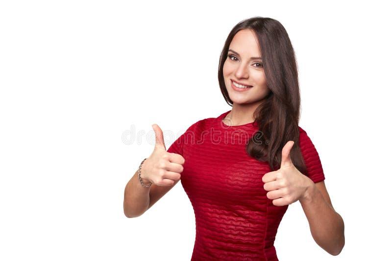 La jolie fille renonce au pouce avec deux mains photographie stock libre de droits