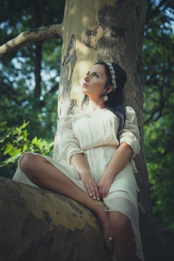 La jolie jeune femme dans la robe romantique s'asseyent sur l'arbre en bois photo stock