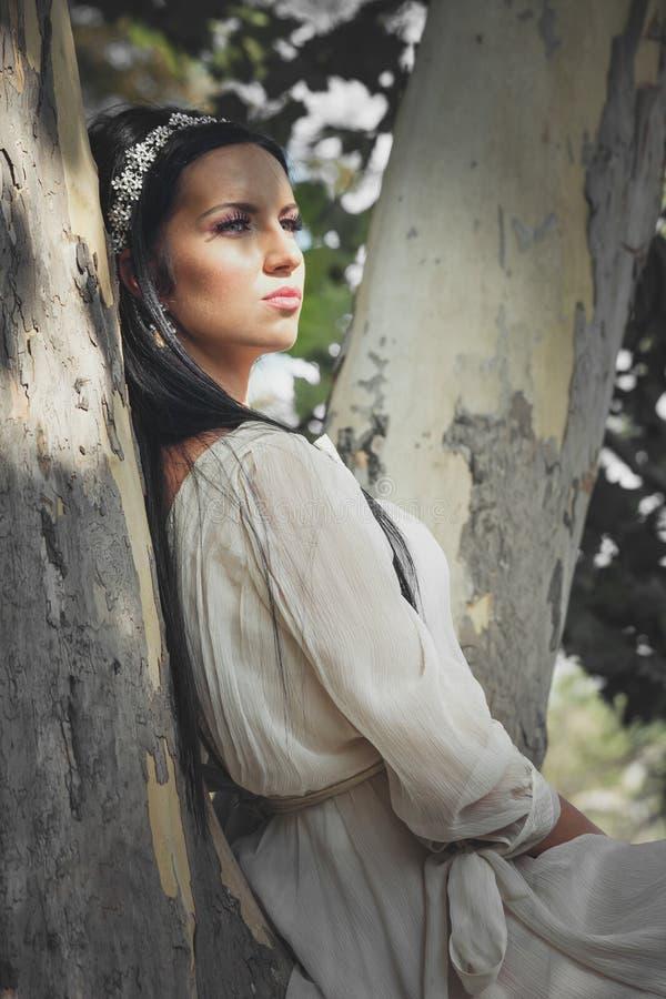 La jolie jeune femme dans la robe romantique s'asseyent sur l'arbre en bois image libre de droits