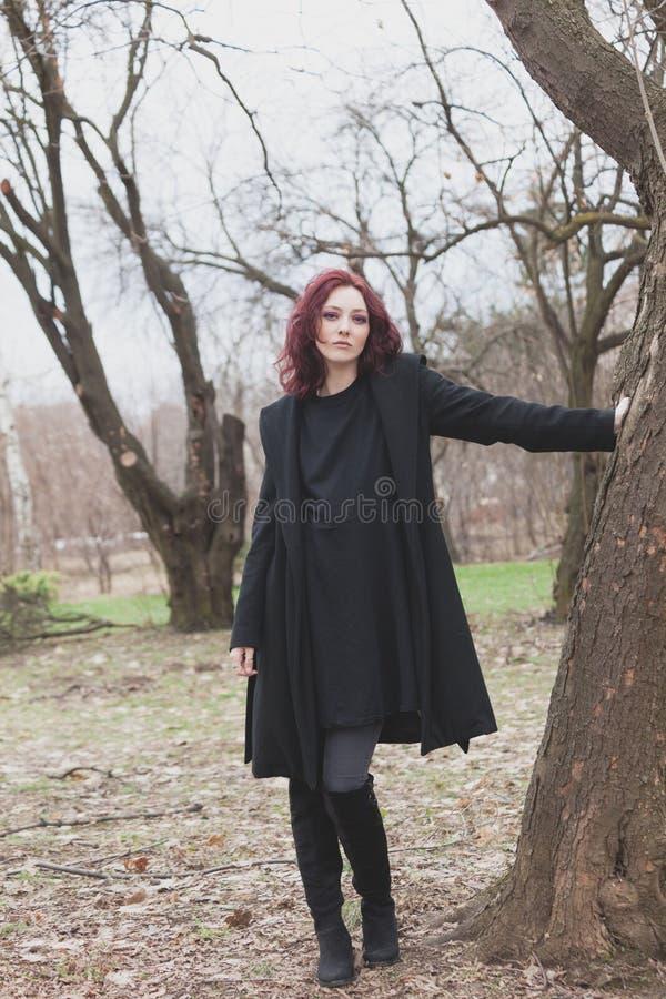 La jolie jeune femme moderne dans le manteau noir et la robe se tiennent prêt l'arbre dans le jour d'hiver de parc photo stock
