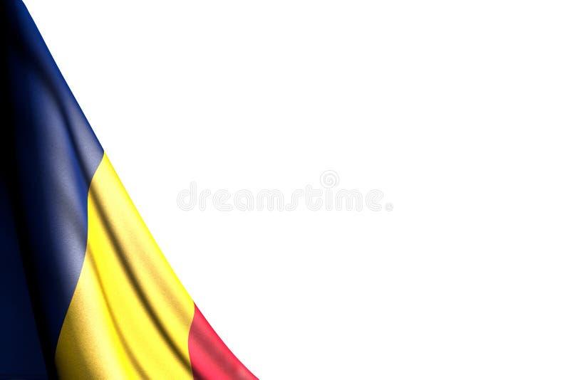 La jolie photo d'isolement du drapeau du Tchad accroche dans faisant le coin - maquette sur le blanc avec l'endroit pour votre te illustration libre de droits