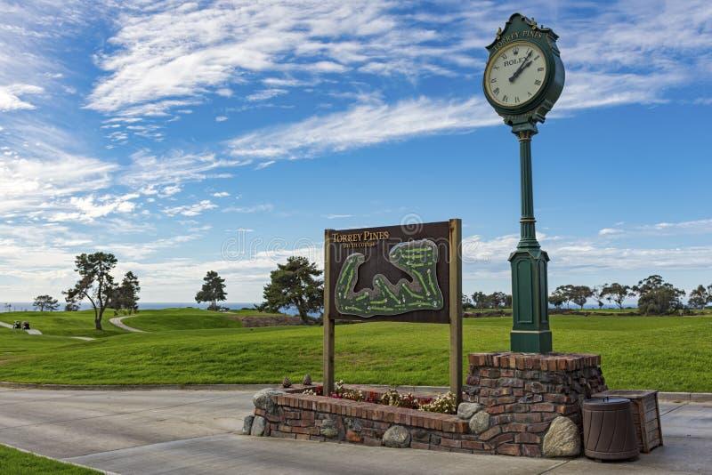 LA JOLLA, LA CALIFORNIE, ETATS-UNIS - 6 NOVEMBRE 2017 : Le signe et la carte du sud de cours près de Rolex synchronisent sur la p photographie stock libre de droits